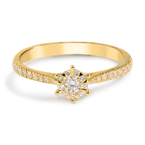 Ring in Gelbgold 18Kt. mit Diamanten